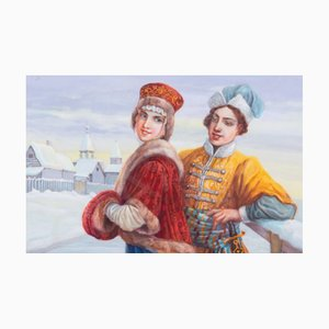 Watercolor, Courtship on the Winter Streets of Russia, 16th Century
