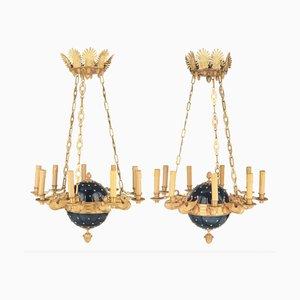 Lámparas de araña estilo Imperio, Rusia. Juego de 2