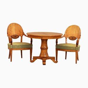 Empire Tisch & Stühle, Russland, 19. Jh., 3er Set