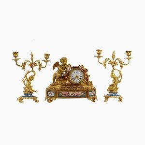 Orologio da camino in bronzo dorato con portacandele, set di 3