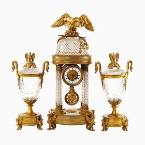 Reloj con decoración de repisa. Juego de 3