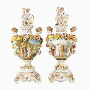 Jarrones de porcelana, Dresde. Juego de 2