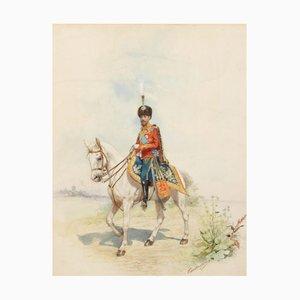 Acuarela retrato ecuestre del gran duque Nikolai Nikolaevich