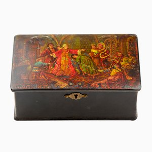 Antique Russian Box Depicting Game of Blind Man's Buff