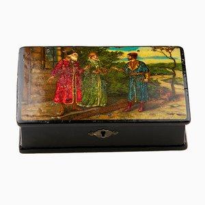 Antique Russian Box Depicting Kissing Rite