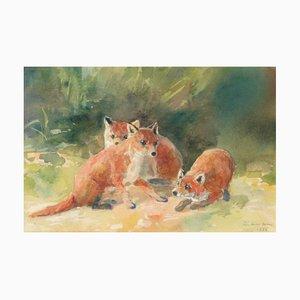 Dipinto con tre cuccioli di volpe