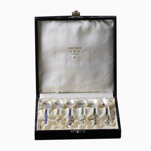 Silver & Enamel Spoons & Case, Set of 6