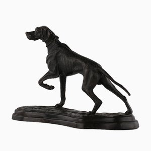 Escultura de perro de caza de bronce