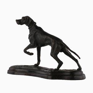 Scultura di cane da caccia in bronzo