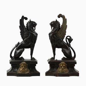 Figuras de chimenea de leones alados. Juego de 2