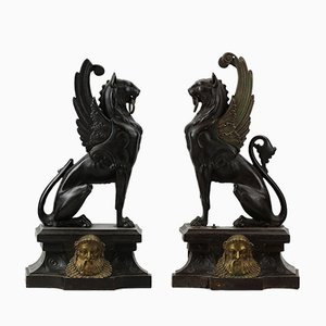 Winged Lions Fireplace Figures, Set of 2
