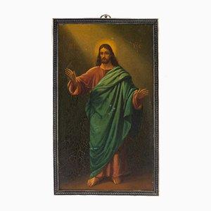 Russische Ikone, die Christus Pantocrator in Ganzkörper darstellt