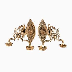 Applique in bronzo dorato, set di 2