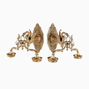 Gilded Bronze Sconces, Set of 2