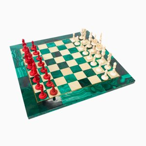 Natural Marble and Malachite Chess Board
