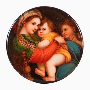 Porzellanteller mit Madonna und Kind und Johannes dem Täufer