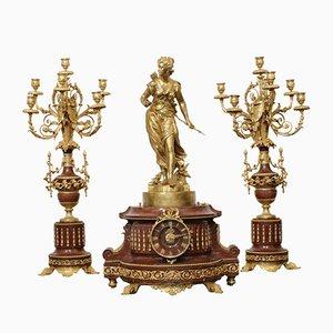 Napoleon III Kaminsims Set mit Moreau Kerzenhaltern, 3er Set