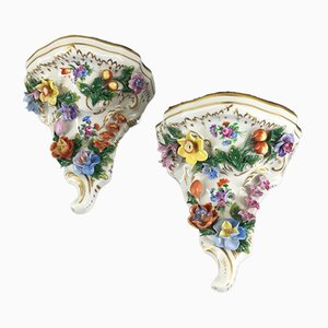 Porcelain Consoles from PS Dresden, Set of 2