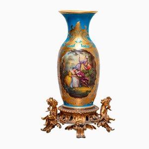 Jarrón de suelo de porcelana, década de 1800