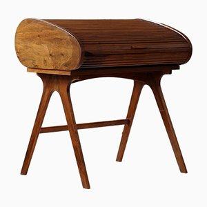 Mid-Century Modern Desk with Roll Top in Walnut Veneer, 1950s