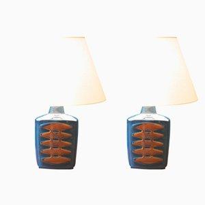 Große dänische Vintage Tischlampen in Blau von Einar Johansen für Soholm, 2er Set