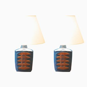 Large Vintage Blue Danish Table Lamps by Einar Johansen for Soholm, Set of 2