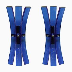 Applique da parete in vetro blu di Veca, anni '60, set di 2