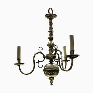 Lámpara de araña inglesa antigua plateada