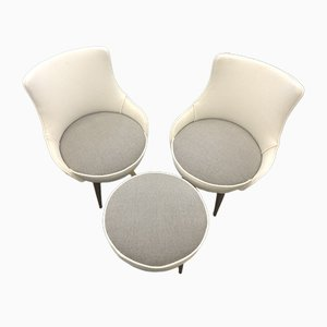 Couple Set Room Armchairs and 50s Puff, Set of 3