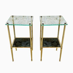 Brass and Glass Side Tables, 1970s, Set of 2