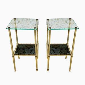 Mesas auxiliares de latón y vidrio, años 70. Juego de 2