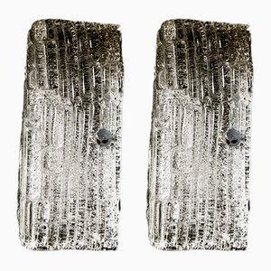 Lámpara de pared de cristal de Murano, años 70. Juego de 2