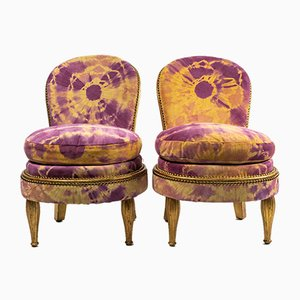 Art Deco Chairs in Leather by Jean-Paul Gautier, Set of 2