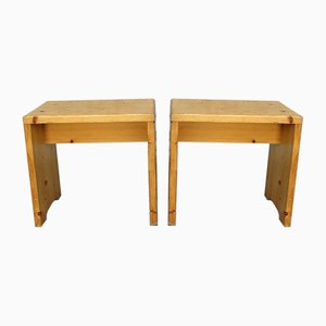 Vintage Pine Stools or Miniature Benches by Charlotte Perriand for Les Arcs, 1960s, Set of 2