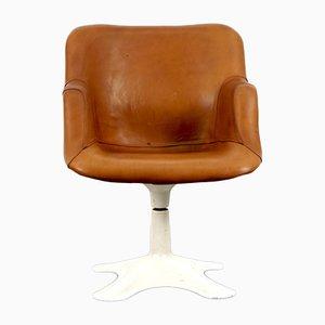 Sedia in pelle color cognac di Yrjo Kukkapuro per Haimi, anni '60