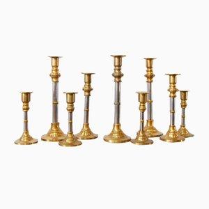 Brass Candlesticks, 1960s, Set of 9