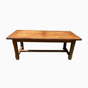 Tavolo da fattoria in legno di quercia massiccio, anni '80