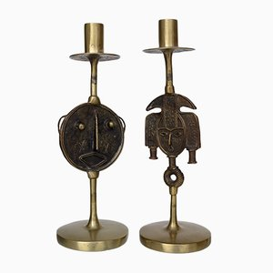 Folk Art Style Brass Candlesticks, 1970s, Set of 2