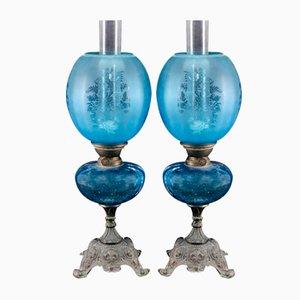 Lámparas de mesa de vidrio azul y bronce. Juego de 2