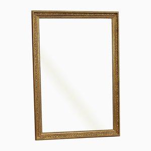 Espejo rectangular grande de madera dorada, principios del siglo XIX