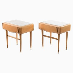 Mid-Century Italian Night Stands with Brass Feet and White Marble Top from Dassi, Set of 2
