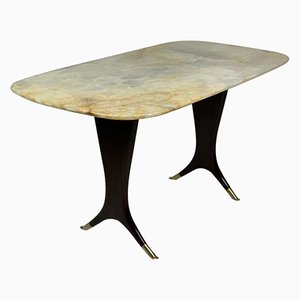 Mid-Century Italian Coffee Table with Onyx Top by Guglielmo Ulrich
