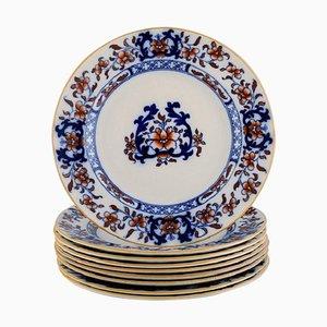 Englische antike Teller aus handbemaltem Fayence von Mintons, 9er Set