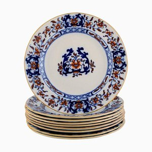English Antique Dinner Plates in Hand-Painted Faience from Mintons, Set of 9