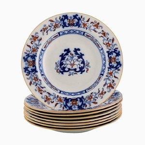 Englische Antike Teller aus Handbemaltem Fayence von Mintons, 8er Set