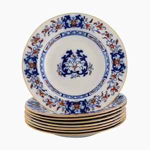 English Antique Deep Dinner Plates in Hand-Painted Faience from Mintons, Set of 8