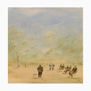 Olle Lindgren, 1930-2018, Sweden, Oil on Canvas, Modernist Park Landscape