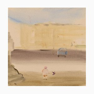 Olle Lindgren, Suède, Huile sur Toile, Motif Ville, 1976