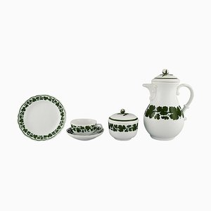 Meissen Green Ivy Vine Leaf Egoist Kaffeeservice aus handbemaltem Porzellan, 5er Set