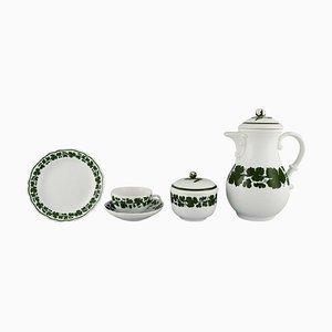 Service à Café Meissen Green Ivy Vine Leaf Egoist en Porcelaine Peinte à la Main, Set de 5
